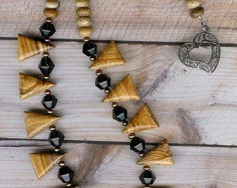 Love Triangles - African Queen Picture Jasper, Smoky Quartz, Freshwater Pearls, Sterling Silver Necklace