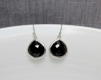 silver black earring , black earring , black drop earring , black glass earring , bridesmaid black earring ,