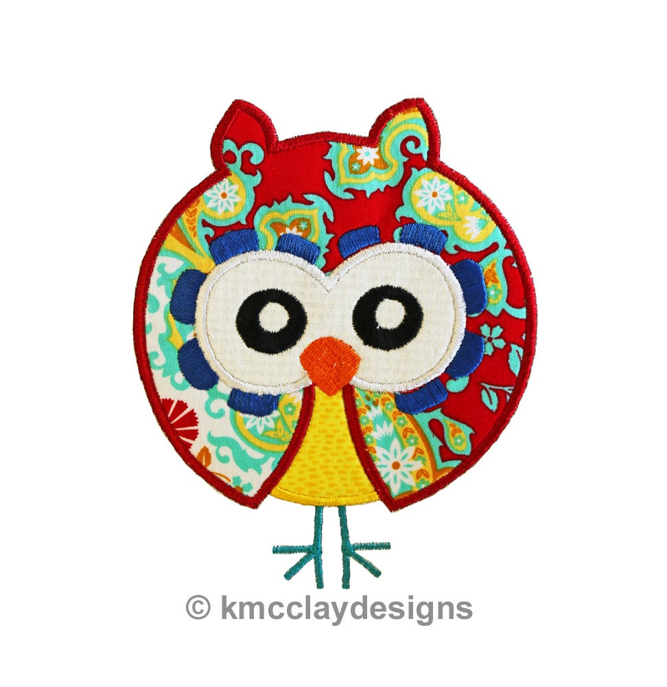 Simple owl applique machine embroidery design