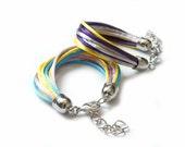 Multistrands Satin cord Bracelets, Fiber Bracelets, Colorful, Wrap Bracelet, Rope jewelry