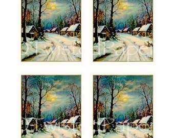 HOLIDAY CHRISTMAS Card Fronts 4-Up ready for card making early 20th Century winter village scene snow moon, Instant Download no. 410