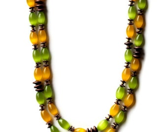 Extra Long Green Yellow Flapper Necklace, Handmade, Multi Strand Wrap Necklace, Colorful Cat's Eye Beaded Necklace