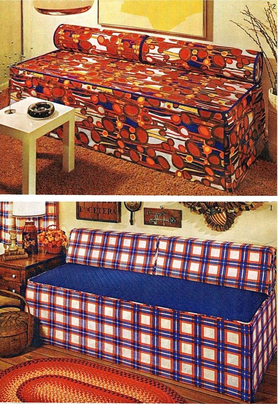 1970s twin bed studio couch or day bed slipcover w round or for Studio one bed cover