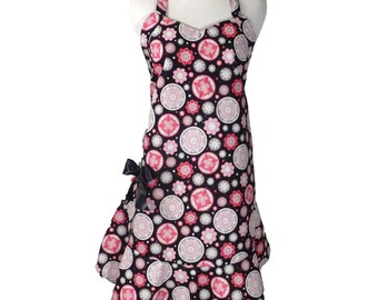 Pink and Black V-Neck Apron