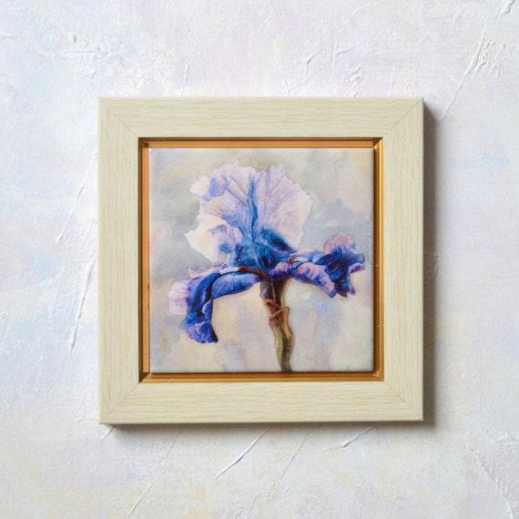 Blue iris hand painted ceramic tile wall art by sobolevaart - Hand painted ceramic tile ...