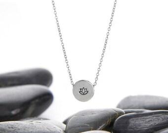 Lotus Flower Sterling Silver Necklace, Lotus Charm, Lotus Flower Charm, Lotus Flower Necklace, Silver Lotus, JIN246SSS