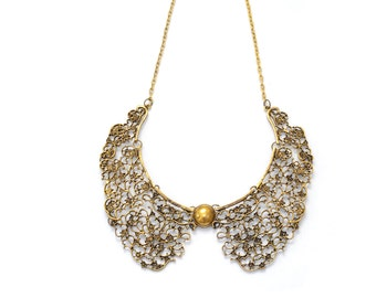 Gold statement necklace, golden bib necklace, chunky collar necklace, false collar, detachable collar necklace