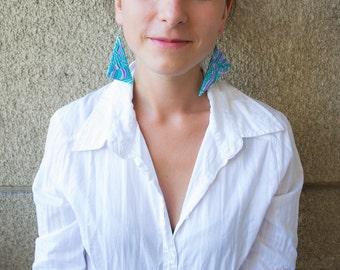 Polymer clay earrings Dangle earrings OOAK earrings Blue earrings Triangle earrings Spring earrings Abstract earrings Violet mint earrings