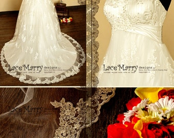 Delicate Flower Appliqué Lace Empire Waist Wedding Dress with Floral Spaghetti Straps and Elaborately Beaded Sweetheart Neckline