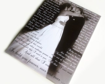 Custom Wedding Photo Canvas Print. 16x20 inches Gallery Wrapped Canvas Art, Photo with Lyrics, First Dance Song, Vows.