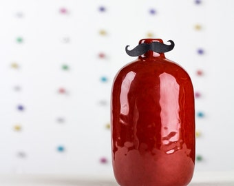 Red Vase Mid Century Hostess Gift Painted Ceramic Vase Home and Table Decor Mustache Party Birthday Wedding Engagement Decoration