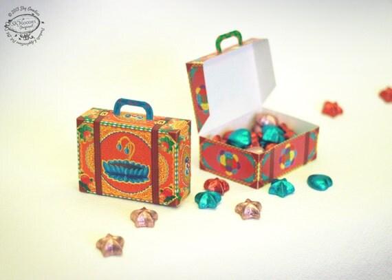 DIY Paper Gift Box / Favor Box Colorful Mini Suitcases: Set