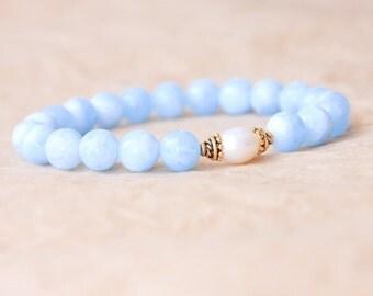 Buddhist Mala Bracelet, Mantra Bracelet, Yoga Jewelry, Aquamarine & Freshwater Pearl - Calmness, Stress Relief, Courage, Feminine Energy