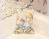 Dollhouse Miniature, Alice in Wonderland Cushion, Dolls House Pillow, Shabby Cottage chic, 1:12th Scale