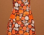 Fall, Autumn, Thanksgiving Adult Apron with Stamped Pumpkins