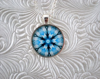 Light blue, white and black abstract  kaleidoscope pendant necklace