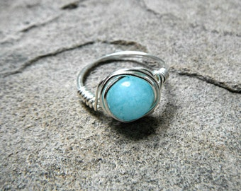 Brazilian Aquamarine Ring, Wire Wrapped Ring, Blue Ring, Blue Stone Ring, Wire Wrapped Jewelry Handmade, Gemstone Ring, Aquamarine Jewelry