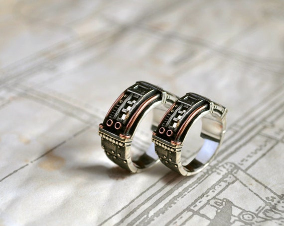 Silver Steampunk Wedding Rings