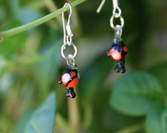 Cute Fat Chibi Glass Koi Silver Earrings, Black with Orange & White Eyes, Utsuri, Jewelry Handmade