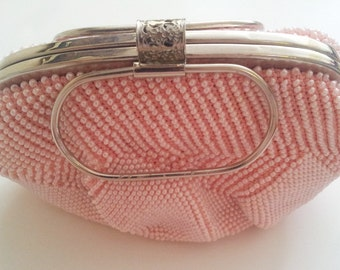 c.1950s Vintage Beaded Clutch, Pink- Free Shipping