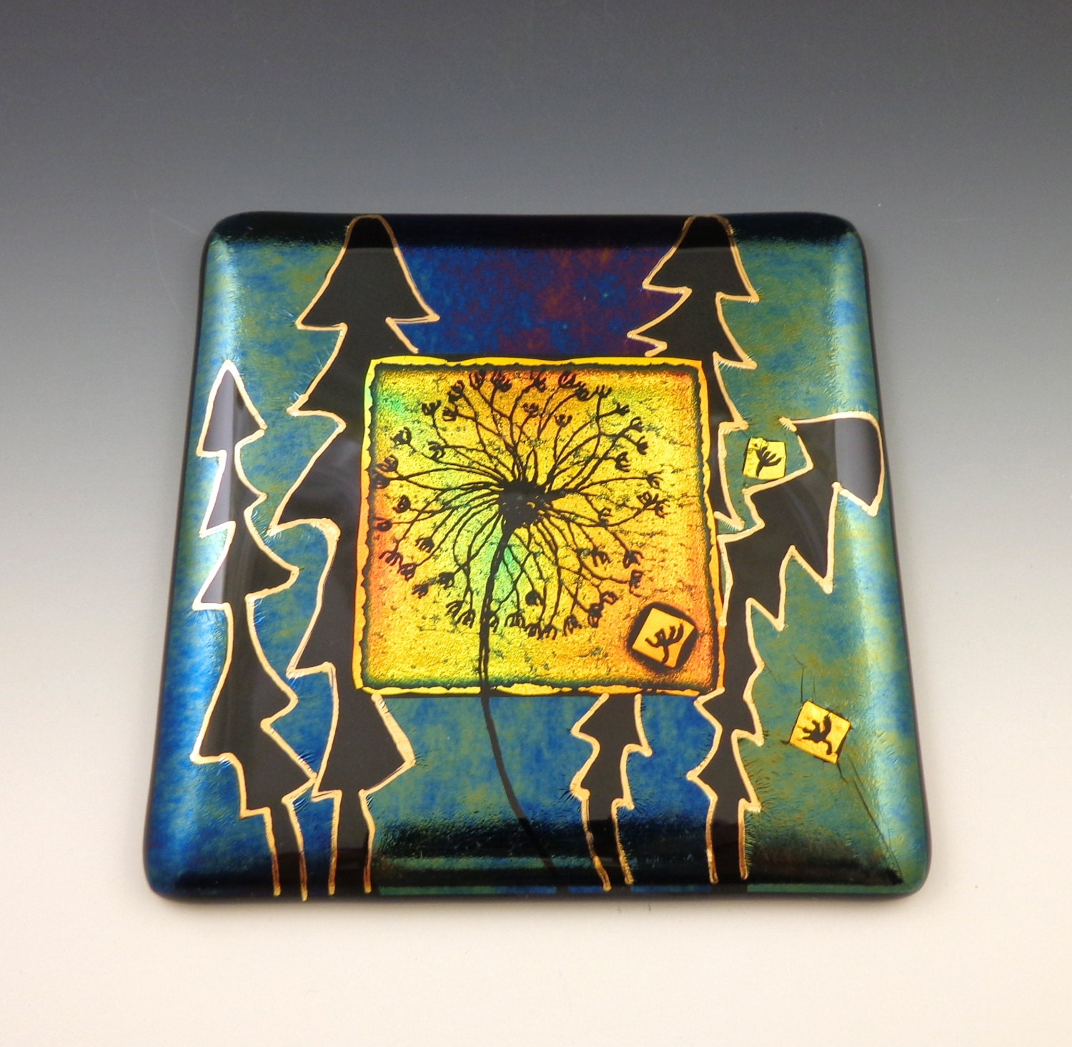 Fused Glass Wall Art: Seeded Dandelion Wall Tile Fused Glass Golden Red Dichroic