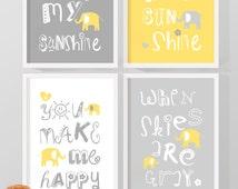 you are my sunshine baby decor yellow and gray, sunshine nursery art, nursery quotes elephant, kids quotes song, sunshine nursery print