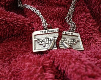 Text Friends Forever Charm Necklace