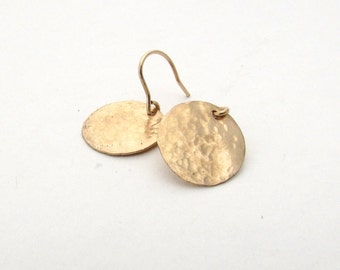 Medium hammered gold earrings, gold fill disc jewelry, gold hammered earrings, gold disc earring, mid-size disc, delicate jewelry