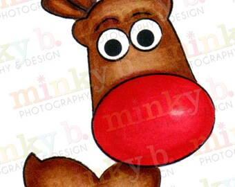 """INSTANT DOWNLOAD Digital Stamp """"Big-Nosed Rudolph"""" by Minky B Designs"""