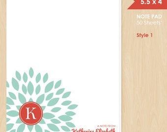 Personalized Note Pad // Teal Blooming Blossom with Monogram Initial and Name // S100-1