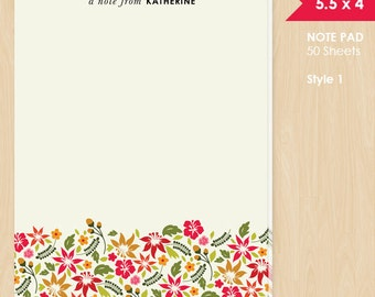 Personalized Note Pad // Hawaiian Floral with Name // Lined or Unlined // S123