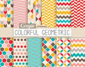 "Geometric digital paper: ""COLORFUL GEOMETRIC"" digital paper pack with happy colorful geometric patterns for scrapbooking, invites, cards"