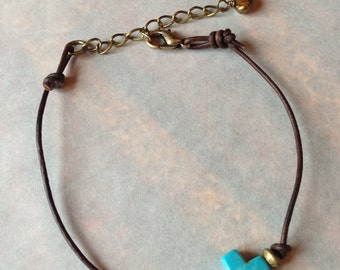 Turquoise Cross on Antique Brown Leather Bracelet