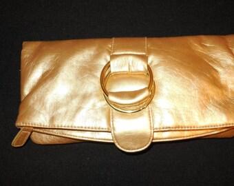 Gold Eloquent Envelope Clutch bag