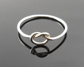 Thin Argentium Silver Love Knot ring, Tie the Knot ring,  Stacking ring (18 gauge)