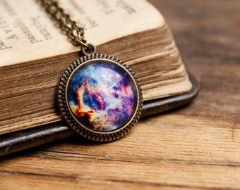 Tiny galaxy pendant, galaxy necklace, universe necklace, space pendant, antique brass pendant, glass dome pendant, antique brass necklace