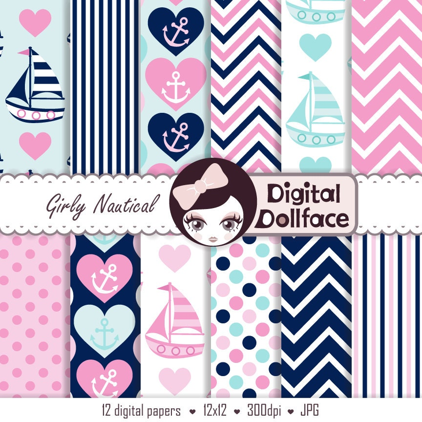nautical baby shower digital paper girl scrapbook pink blue