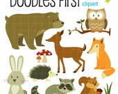 Woodland Creatures Forest Animals Digital Clip Art for Scrapbooking Card Making Cupcake Toppers Paper Crafts