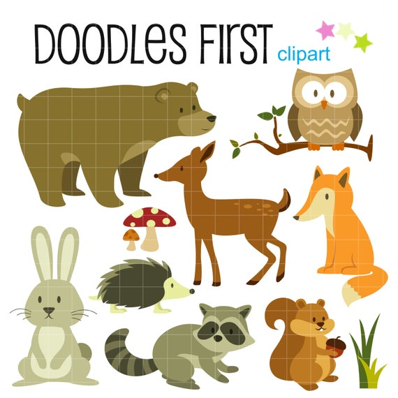 Woodland Creatures Forest Animals Digital Clip Art for