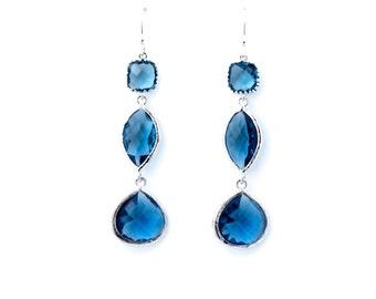 Montana Sapphire Drop Earrings, Dangle Earrings, Wedding Jewelry, Bridesmaid Jewelry, Mother's Day, Graduation Gift,