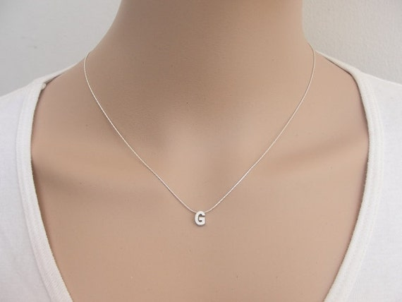 capital letter necklace silver initial necklace letter necklace silver letter necklace personal
