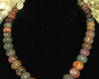 Picasso Jasper Graduated Bead Necklace