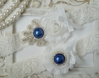 Wedding Garter Set, Bridal Garter Set, Vintage Wedding, Ivory Lace Garter, Crystal Garter Set, Something Blue