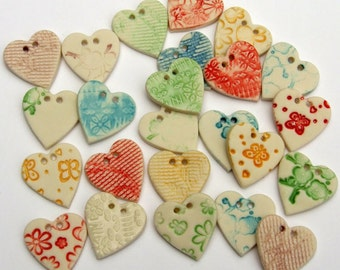 Heart Button - Ceramic Button - Handmade Buttons for Sewing - Porcelain Buttons for Embroidery - Craft Button - UK Button - Price per Button