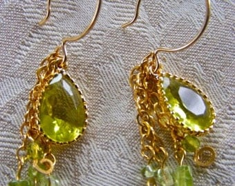 Peridot and Gold Dangle Earrings