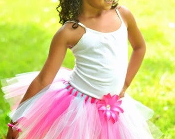 Hot Pink, Soft Pink, Aqua Tutu with Matching Flower Clip