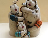 ceramic sculpture, family sculture, mom dad and child sculpture, ceramic bird, Valentine's gift , for the home, anniversary gift , Wedding