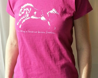 Freedom, horse tee junior fit pink