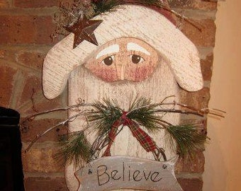 items similar to christmas hanging wooden santa christmas yard art santa decoration on etsy