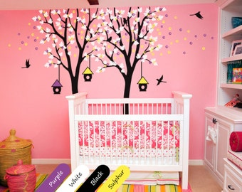 Tree  Wall Decals - Creative Baby Nursery Birdhouse and Birds Trees Decal - Tree Wall Decal for Children's Room Perfect baby room decor 024